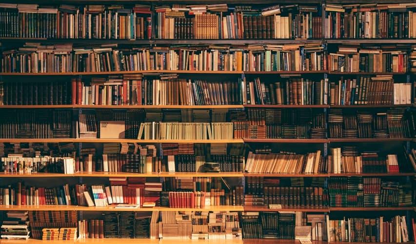 Imagen de una biblioteca antigua con libros en francés