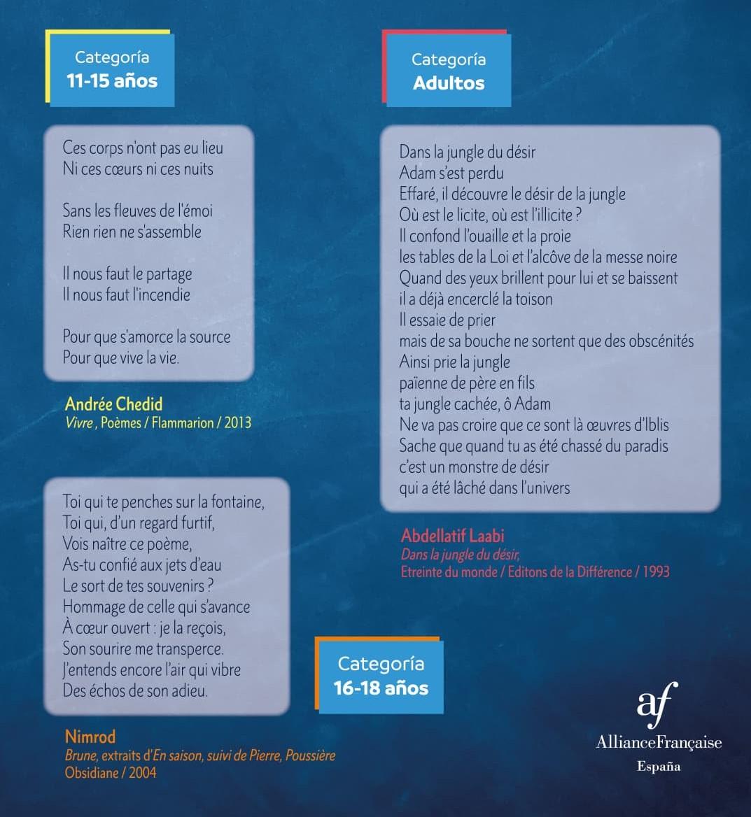 Afiche de los poemas a traducir en el concurso de traducción de poesía