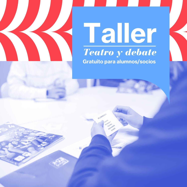 cartel del taller gratuito de francés de teatro y debate
